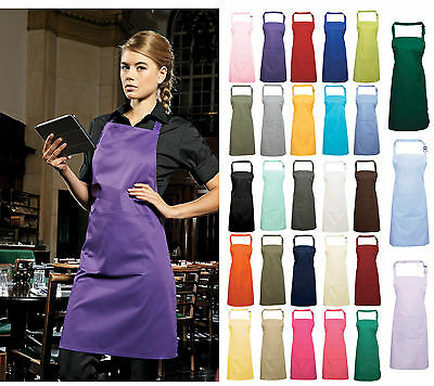 Premier Workwear 'Colours' Bib Cooking Apron WITH pocket Restaurant Cafe PR154