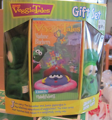Veggie Tales Madame Blueberry Gift Set VHS Larry Junior MINT IN SEALED PACKAGE