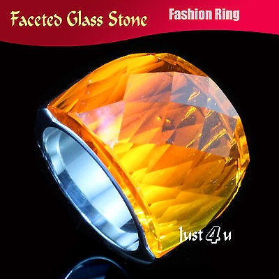 Huge Sparkling Orange Faceted Glass Stone Stainless Steel Fashion Ring