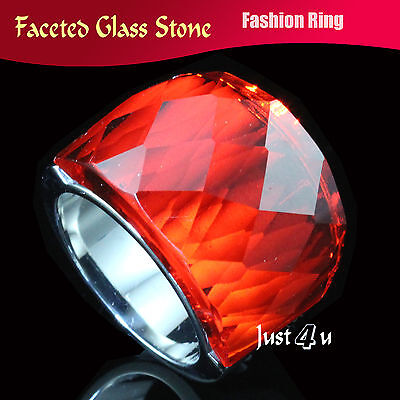 Huge Sparkling Red Faceted Glass Stone Stainless Steel Fashion Ring