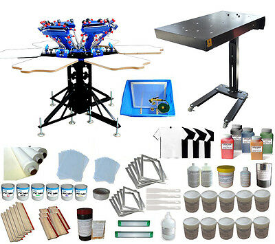 6 Color Silk Screen Printing Press with Flash Dryer & Complete DIY Shirt Supply