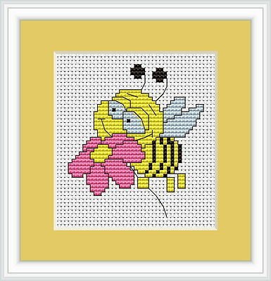 Bee Cross Stitch Kit By Luca S Ideal For Beginner 6.5cm x 7.5cm