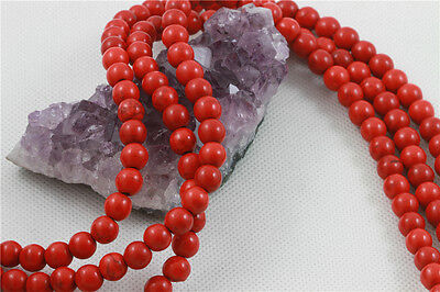 """16"""" Howlite Turquoise Loose Beads Round 8mm RED *FREE SHIPPING"""