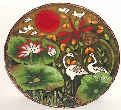 Rare Japanese Cloisonne Enamel Copper Dragonfly Floral And Birds Plate Signed