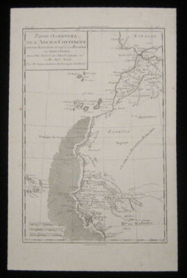 1780 Original Bonne Map of Canary Island Cape Verde Morocco Dakar Senegal Africa