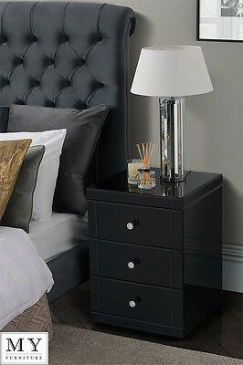 Black  Mirrored Glass High Gloss Bedside Table cabinet 3 drawer