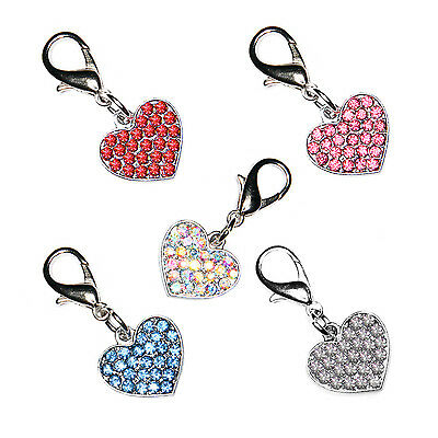 Diamante Bling Sparkly Crystal Heart Cat Dog Collar Bag Phone Charm