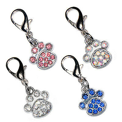 Diamante Bling Sparkly Crystal Paw Print Cat Dog Collar Bag Phone Charm