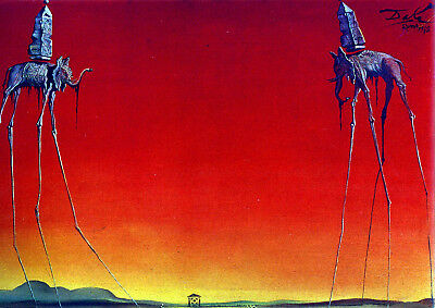 Salvador Dali The Elephants Canvas Print A4 Size (297 x 210mm)