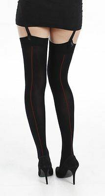 New Womens 80 Denier Black Coloured Opaque Stockings with Red Back Seam
