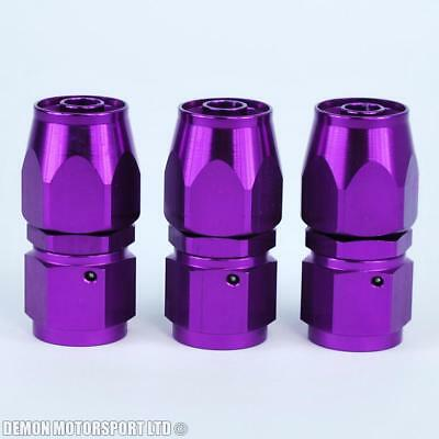 8AN -8 (AN8) Straight Purple Braided Hose Fitting (3 Pack)