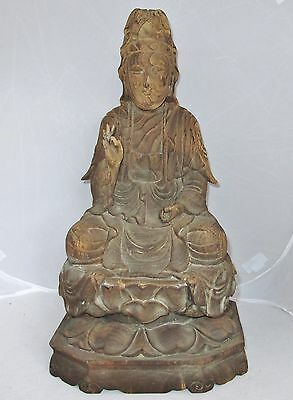 """Large Antique ? Chinese Hand Carved Wood KWAN-YIN Seated on Lotus  (17"""" tall)"""