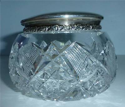 ABP Cut Glass Dresser Jar with Gorham Sterling Silver Cover