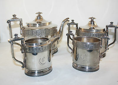 ANTIQUE REED AND BARTON 4 PCS TEA SET, TEAPOT, BISCUIT JAR, SILVER PLATE
