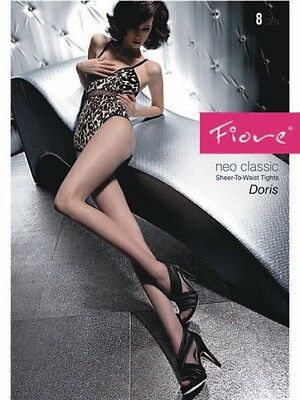 Fiore Doris Luxurious Classic 8 Denier Pantyhose Tights Silky Sheer FREE SHIP