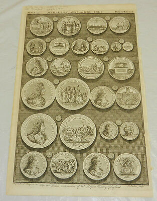1747 Antique Print/MEDALS OF QUEEN ANNE & KING GEORGE I///Plate 10////J