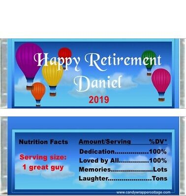 Retirement Personalized Party Candy Wrappers Favors