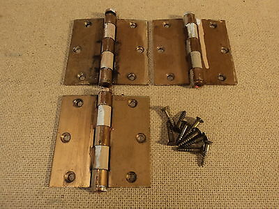 Stanley Hinges Heavy Duty 1 1/2in W x 3 1/2in L Copper Finish Set Of 3 Vintage