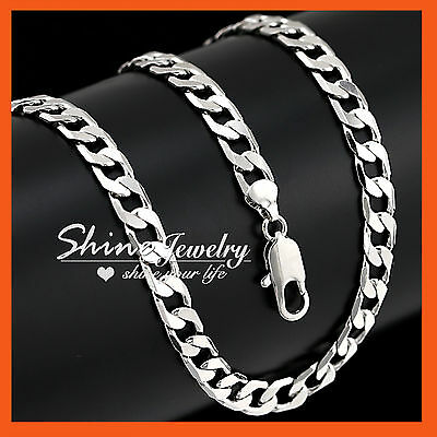 18K White Gold Gf N35 60Cm Flat Ring Curb Chain Womens Mens Solid Charm Necklace