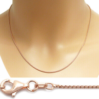 Rose Gold Sterling Silver Round Box Chain Necklace 1mm 100 gauge