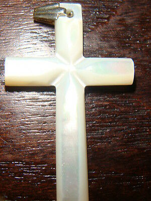 Cross, White Mother Of Pear Cross Pendant, Souvenier/gift From The Holy Land