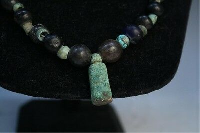 Ancient Roman Glass and Bronze Necklace 200 CE