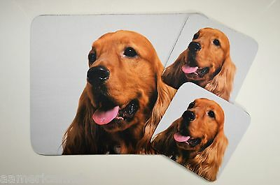 3 pc Set Dog Lover Mouse Pad 9x7 +2 Coasters COCKER SPANIEL Puppies Nice Gift