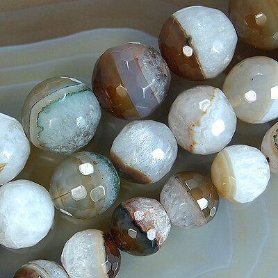 Natural Faceted Coffee Druzy Agate Gemstone Round Spacer Loose Beads 16mm 18mm