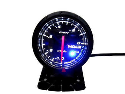 JDM Black Face Non Smoke Vacuum Car Gauge Meter White or Blue LED 60mm