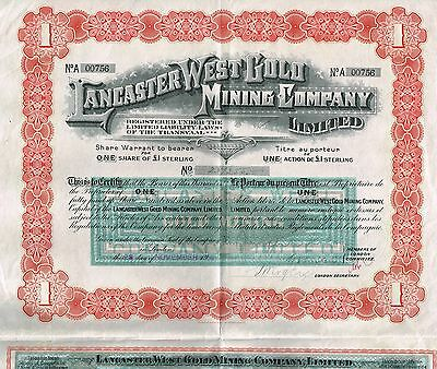 SOUTH AFRICA LANCASTER WEST GOLD MINING COMPANY stock certificate 1908 1SH