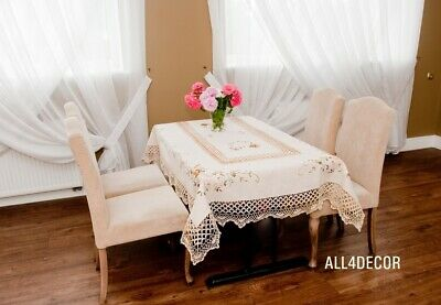 Cottage style vintage cream tablecloth, oval, rectangular floral pattern