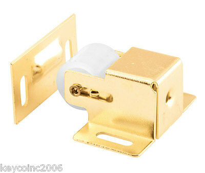 Spring loaded nylon roller Catch Cabinet Door Latch - brass