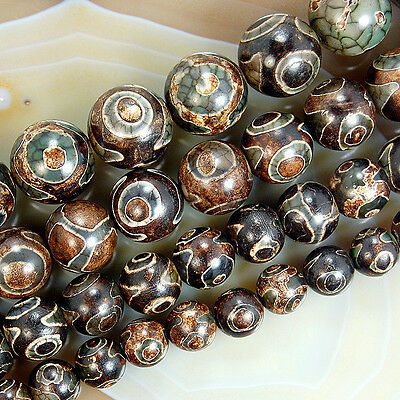 Spot Tibetan Mystical Old Agate Eye Gemstone Beads 8,10,12,14mm Pick Size
