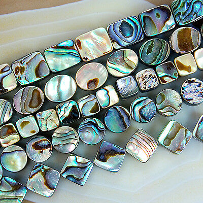 """Natural Colorful Abalone Shell Beads 15.5"""" Pick Size And Shape"""