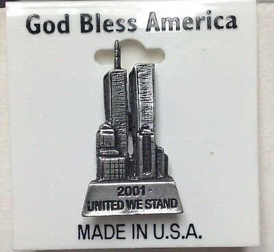 9/11/2001 United We Stand World Trade Center Pewter Pin Brooch
