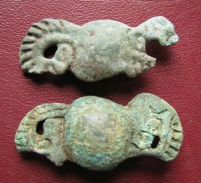 Authentic Ancient Lake Ladoga VIKING Artifact > Bronze Belt Fittings w Dragon D9