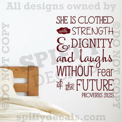 PROVERBS 31:25 Strength Dignity Laughs Quote Vinyl Wall Decal Decor Sticker