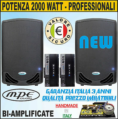 Casse Amplificate Attive 15 2000 Watt Made In Italy Dj Discoteca Mpe Audio 130Db