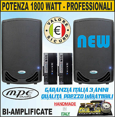 Casse Amplificate Attive 12 2000 Watt Made In Italy Dj Discoteca Mpe Audio 128Db