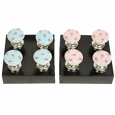 1/ 4 Pk Enamel Ceramic Vintage Floral Rose Polka Dot Door/Drawer Knobs Blue Pink