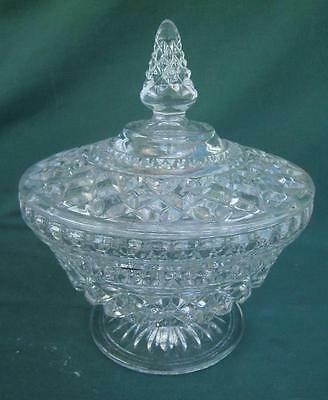 Clear Early American Pres-Cut Eapc Glass Covered Candy Nut Mint Dish Bowl W/ Lid