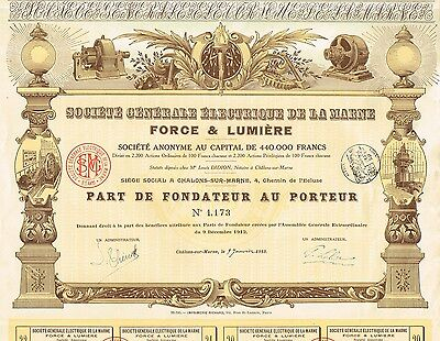 FRANCE GENERAL ELECTRIC MOTOR & LIGHT COMPANY  stock certificate LA MARNE 1913