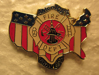"FIREFIGHTERS ""AMERICA'S BRAVEST""  Brass Hat Pin"