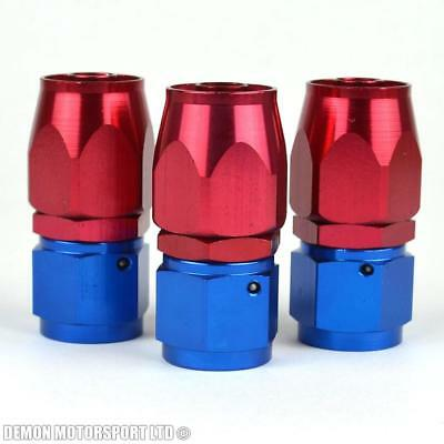 JIC AN8 -8 8AN Straight Braided Hose Fitting Red / Blue (3 Pack) Oil Fuel Water