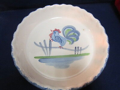 """Los Angeles Pottery, USA BLUE STIPPLE with ROOSTER Pattern 9 7/8"""" Pie Plate"""