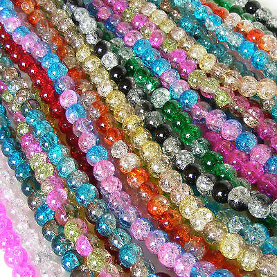 NEW !! Glass Crackle Round Beads - ASSORTED COLOURS- 4 sizes - BUY 2 get 1 FREE