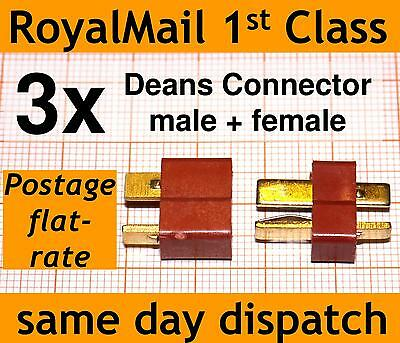 3x Deans Connector male & female T Plug 3 pairs of high current connectors Lipo