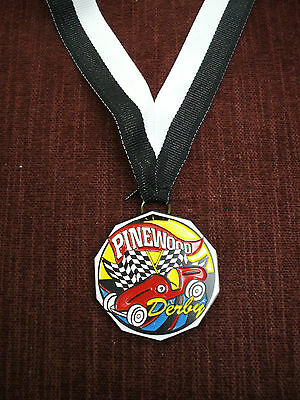 colorful pinewood racing medal black & white neck drape cub scout derby