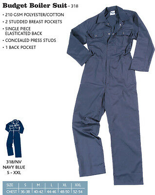 BLUE CASTLE Navy PolyCotton Coveralls / Overalls / Boilersuit Studded All Sizes