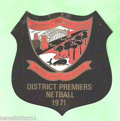 #d16. Netball Vinyl Pocket Prize Patch - 1971 North Sydney Premiers
